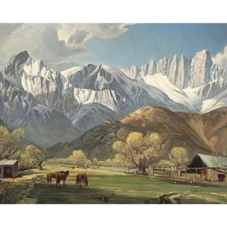 Valley Below the Snow Mountain' Oil on Canvas Art
