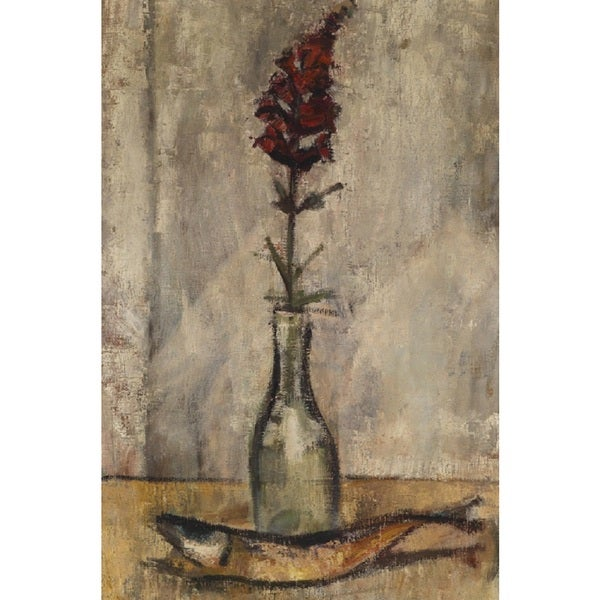 Red Orchid and Fish' Oil on Canvas Art