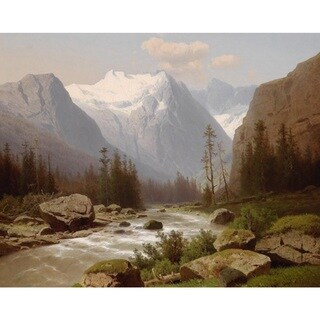 Adolf Chwala 'Mountain Stream with Mountain Panorama' Oil on Canvas Art