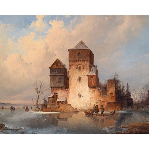 Karl Adloff 'Winter Landscape with Ice Skaters by a Castle' Oil on Canvas Art