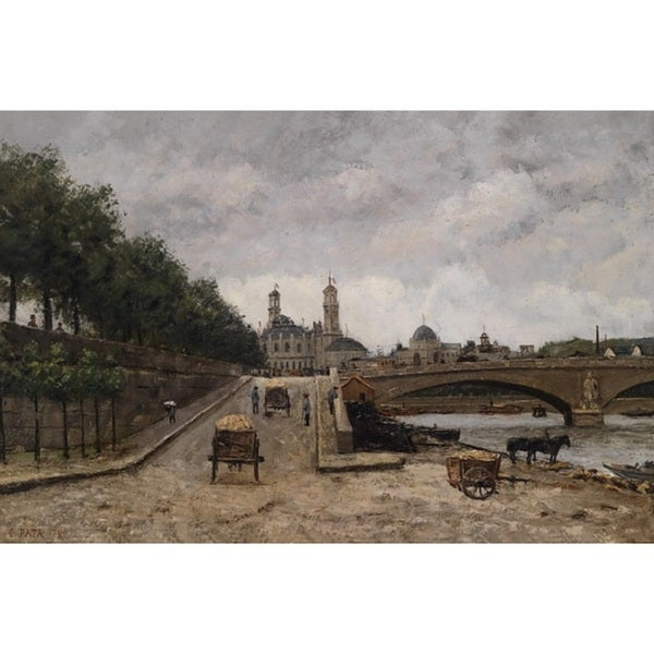 Cherubino Pata 'Paris, View of the Trocadero from the Seine' Oil on Canvas Art