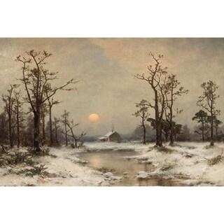 Carl Von Perbandt 'Snow Scene with a Winter Cabin' Oil on Canvas Art