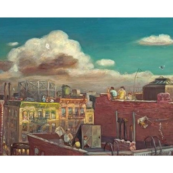 City View from the Roof' Oil on Canvas Art