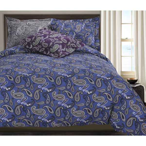 Luxor Treasures Paisley Cotton Flannel 3-piece Duvet Cover Set