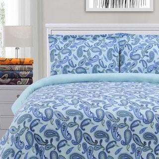 Superior Paisley Reversible Cotton Flannel Duvet Cover Set