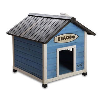 Pet Squeak Beach House Blue Raised Wooden Dog House