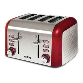 Nesco Red Stainless Steel Wide Slot 4-slice Toaster