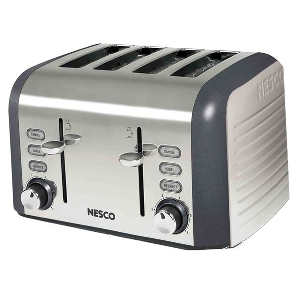 Nesco Thunder Grey Stainless Steel Wide Slot 4-slice Toaster