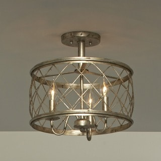 Dury Century Silver Leaf Finish Medium Semi Flush Mount Light Fixture