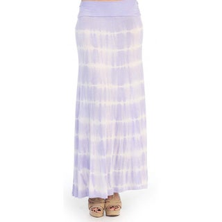 Hadari Women's Lavender Tie-dye Striped Maxi Skirt