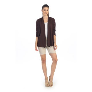 Hadari Women's Solid Brown Open Cardigan