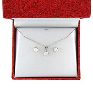 10k Yellow or White Gold 1ct TDW Round Diamond Solitaire Stud Earrings and Necklace Set