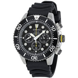 Seiko Men's SSC021P1 Solar Diver Black Chronograph Watch