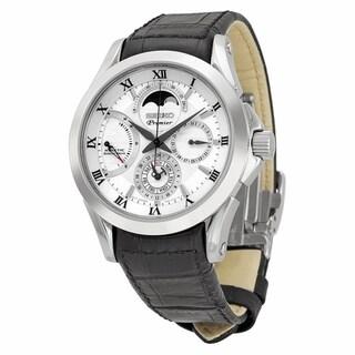Seiko Men's SRX003P1 Premier Kinetic Direct Black Leather Watch