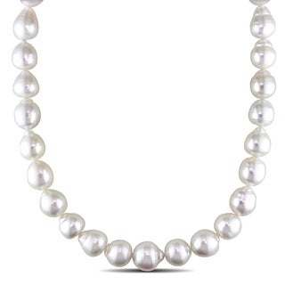 Miadora Signature Collection 14k Yellow Gold South Sea White Pearl and Diamond Accent Necklace (12-14 mm)