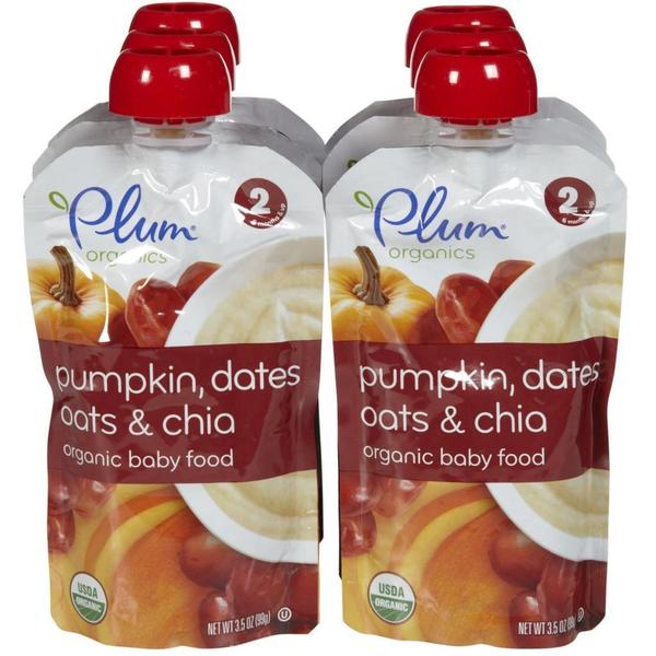 Plum Organics 2nd Blends Fruit/ Grain Pumpkin/ Dates/ Oats/ Chia 3.5-ounce Pouch (Pack of 6)