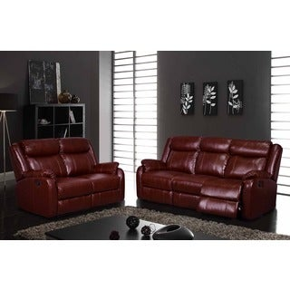 Transitional Burgundy Reclining Sofa