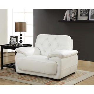 Contemporary White Leather Tufted Arm Chair