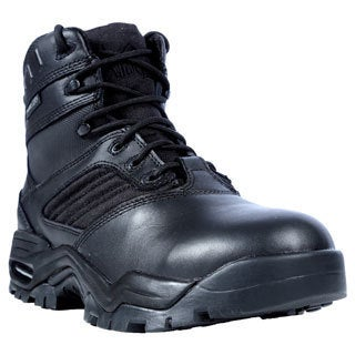 Ridge Men's Black Leather Mid Zipper Motorcycle Boots