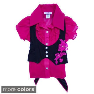 Girls Double-breasted Vest and Capri Pants 3-piece Set