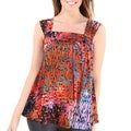 24/7 Comfort Apparel Women's Printed Side-tie Tunic Tank Top