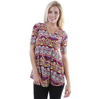 24/7 Comfort Apparel Women's Tribal Print Elbow Sleeve Tunic