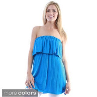 24/7 Comfort Apparel Women's Strapless Flounced Tunic Top