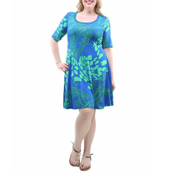 24/7 Comfort Apparel Women's Plus Size Blue Paisley Print half-sleeve Dress