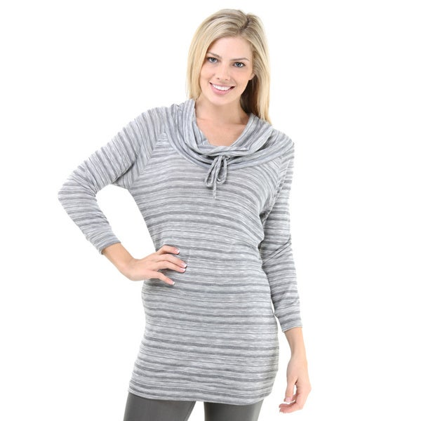 24/7 Comfort Apparel Women's Striped Raglan Sleeve Oversized Tunic