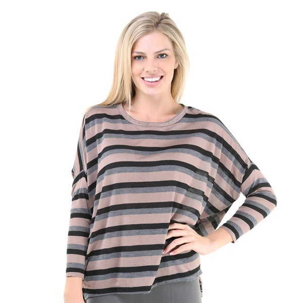 24/7 Comfort Apparel Women's Striped Oversized Long Sleeve Dolman Top