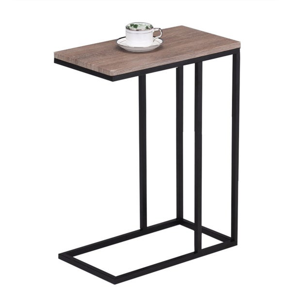 Reclaimed wood look finish black metal snack table for Table shopping