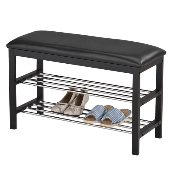 Black Bonded Leather Black Frame Shoe Bench