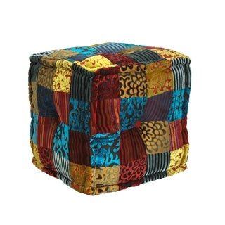 Elements 17-inch Square Velvet Patch Pouf