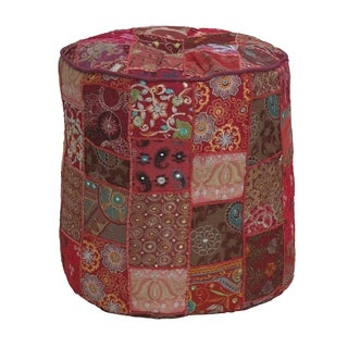 Elements 16-inch Round Multicolored Patchwork Pouf