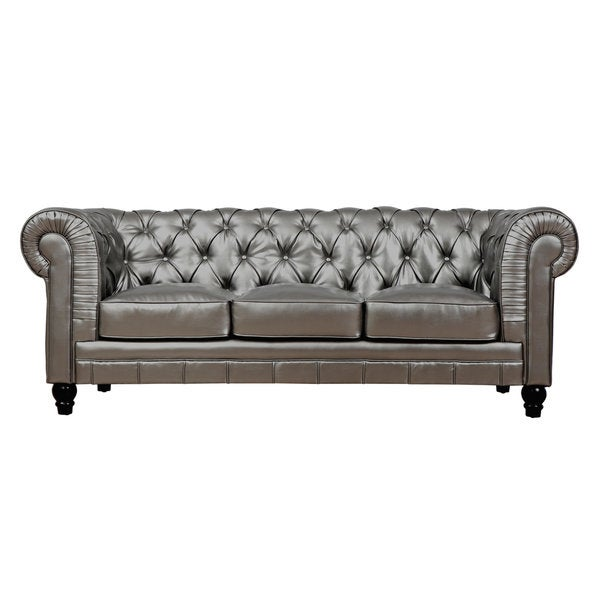 Zahara Silver Leather Sofa