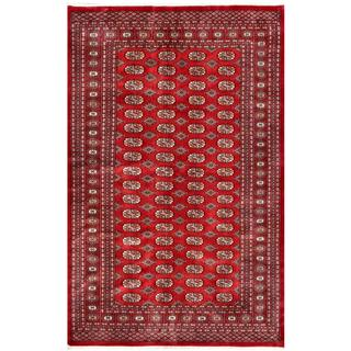 Pakistani Hand-knotted Bokhara Red/ Ivory Wool Rug (5'10 x 9'2)