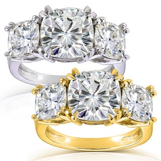 Annello 14k Gold 5ct CTW Cushion-cut Moissanite Three-Stone Engagement Ring
