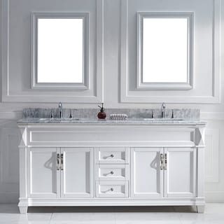 Virtu USA Victoria 72-inch White Double Sink Vanity Set