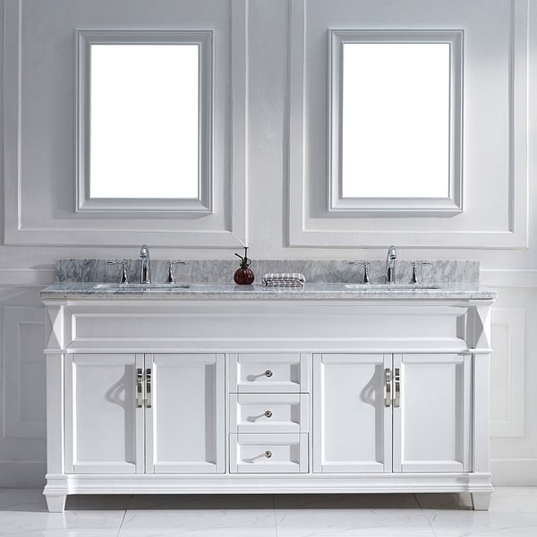 Virtu USA Victoria 72inch White Double Sink Vanity Set  16212975