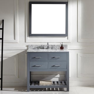 Caroline Estate 36-inch Grey Square Single Sink Italian White Carrara Marble Vanity Set