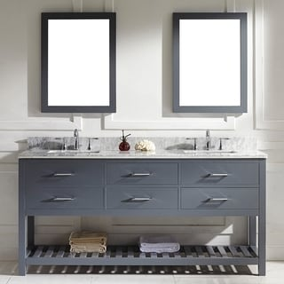 Caroline Estate 72-inch Grey Square Double Sink Italian White Carrara Marble Vanity Set