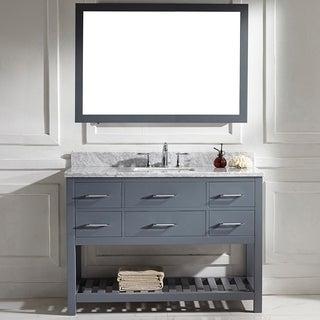 Caroline Estate 48-inch Grey Square Single Sink Italian White Carrara Marble Vanity Set