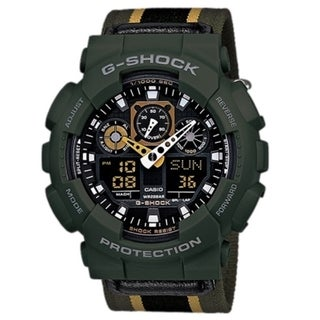 Casio G-Shock GA100MC-3A Green Military Cloth Watch
