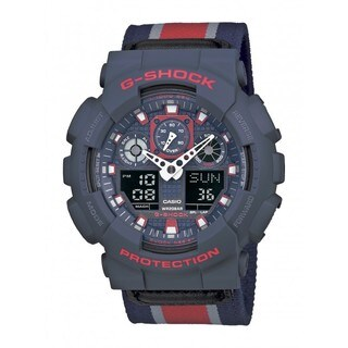 Casio G-Shock GA100MC-2A Red/ Navy Military Cloth Watch
