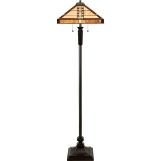 Bungalow 2-light Vintage Bronze Tiffany Floor Lamp