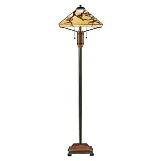 Grove Park 2-light Multi Finish Tiffany Floor Lamp