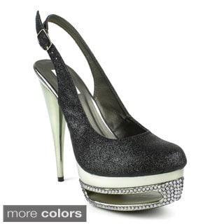 Celeste Women's 'Freida-08' Glittery Cut-out Platform Heels