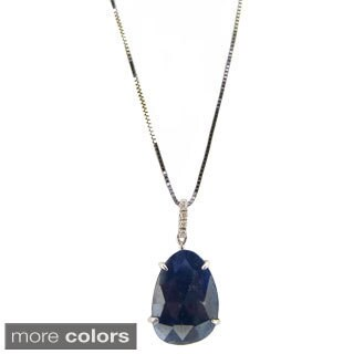 14k White Gold Diamond Accent and Gemstone Slice Pendant Necklace