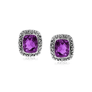 Sterling Silver Bali Faceted Rectangular Amethyst Post Earrings (Indonesia)