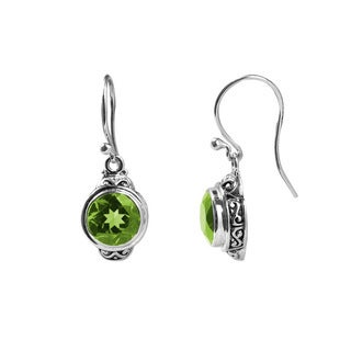 Sterling Silver Bali Faceted Round Peridot Dangle Earrings (Indonesia)